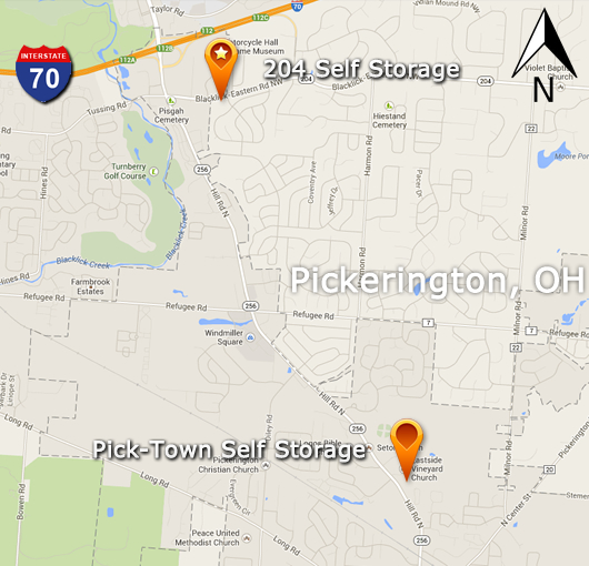 Pickerington Self Storage Map